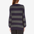 Paisie Women's Ribbed Jumper with Stripes - Navy/Grey: Image 3