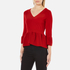 Boutique Moschino Women's Peplum Flared Sleeve Jumper - Red: Image 2