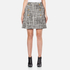 Boutique Moschino Women's Tweed Print Short Pleat Skirt with Buttons - Black: Image 1