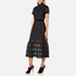 Perseverance Women's Cable Lace Midi Dress with High Neck and Ribbon Details - Black: Image 2