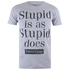 Forrest Gump Mens Stupid Is T-Shirt - Grijs Melange: Image 1