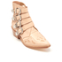 Toga Pulla Women's Buckle Side Leather Heeled Ankle Boots - Beige: Image 2
