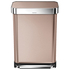 simplehuman Rectangular Brushed Steel Pedal Bin with Liner Pocket - Rose Gold 55L: Image 1