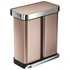 simplehuman Dual Compartment Pedal Bin with Liner Pocket - Rose Gold 58L: Image 2