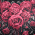 Spiral Blood Rose Fleece Blanket - Black: Image 2