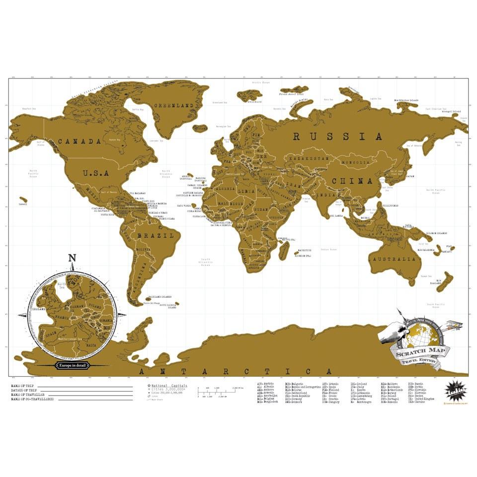 Ausgefallenkreatives - Reiseedition Rubbel Karte Scratch Map - Onlineshop Sowas Will Ich Auch