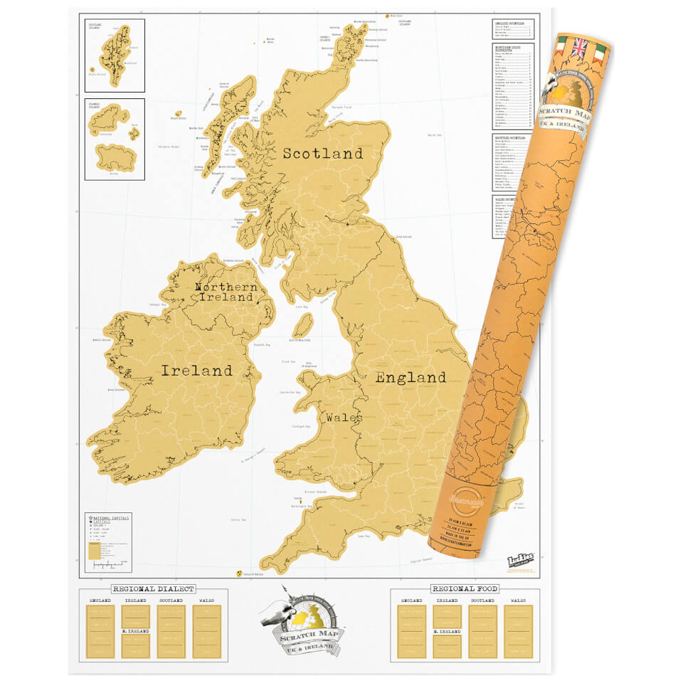 UK Karte zum frei Rubbeln Scratch Map