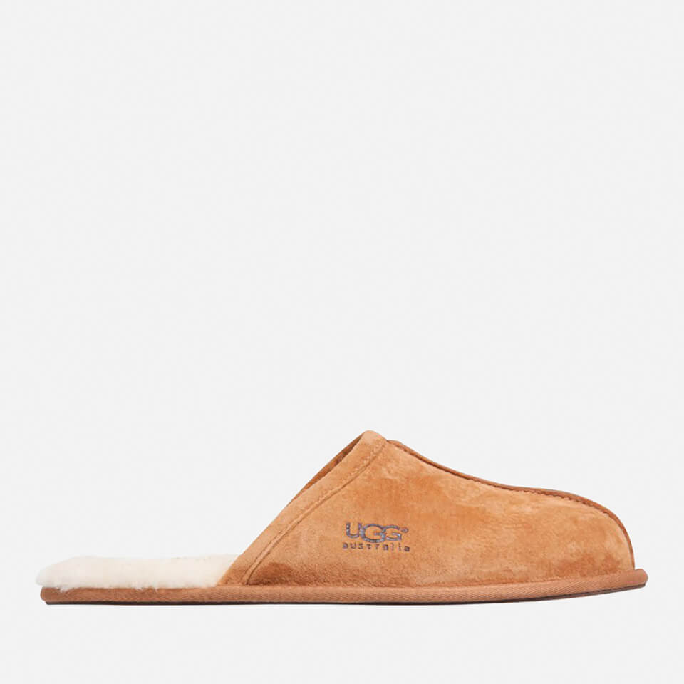 Ugg Mens Scuff Suede Sheepskin Slippers Chestnut Uk 8