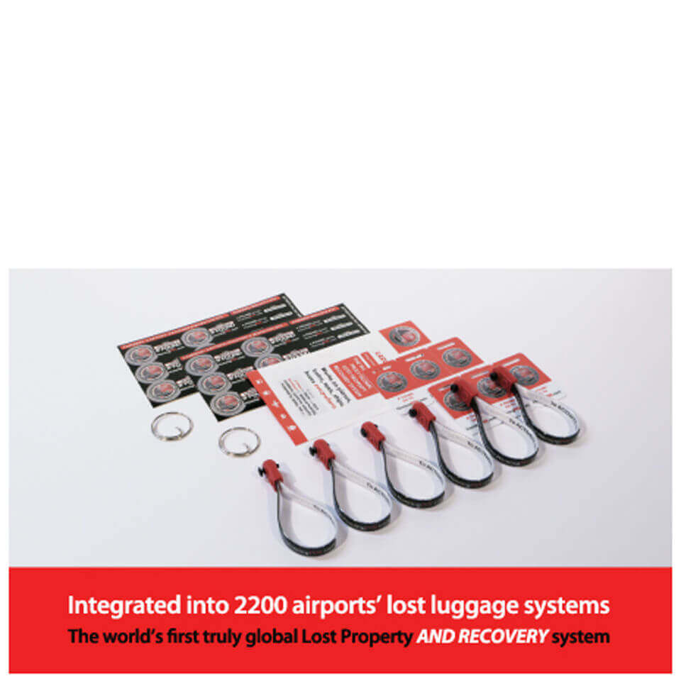 HomingPin Luggage Recovery Double Pack (Includes 6 Loops, 12 Large Stickers, 12 Small Stickers and 2 Keyring Adaptors) | misc_clothes