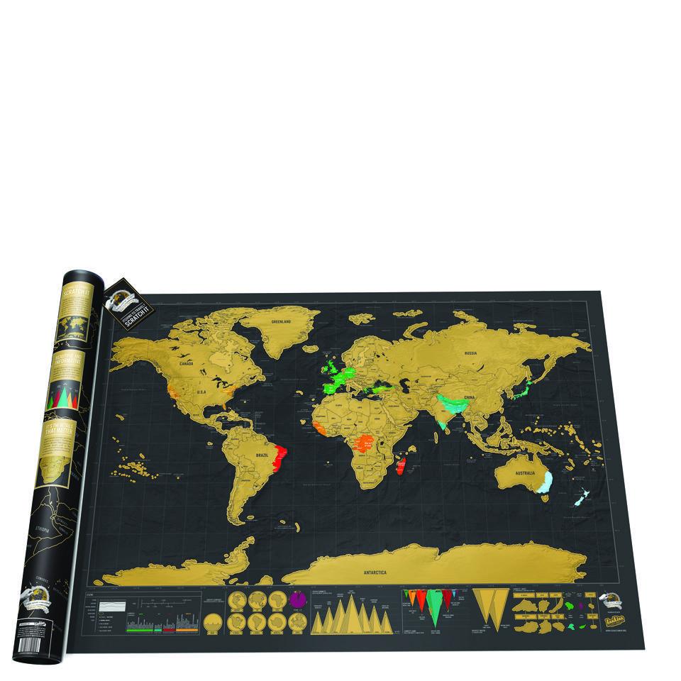 Ausgefallenkreatives - Weltkarte Zum Frei Rubbeln Scratch Map Gold Edition - Onlineshop Sowas Will Ich Auch
