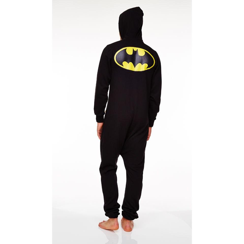 dc comic men 39 s batman adult onesie black gifts zavvi. Black Bedroom Furniture Sets. Home Design Ideas