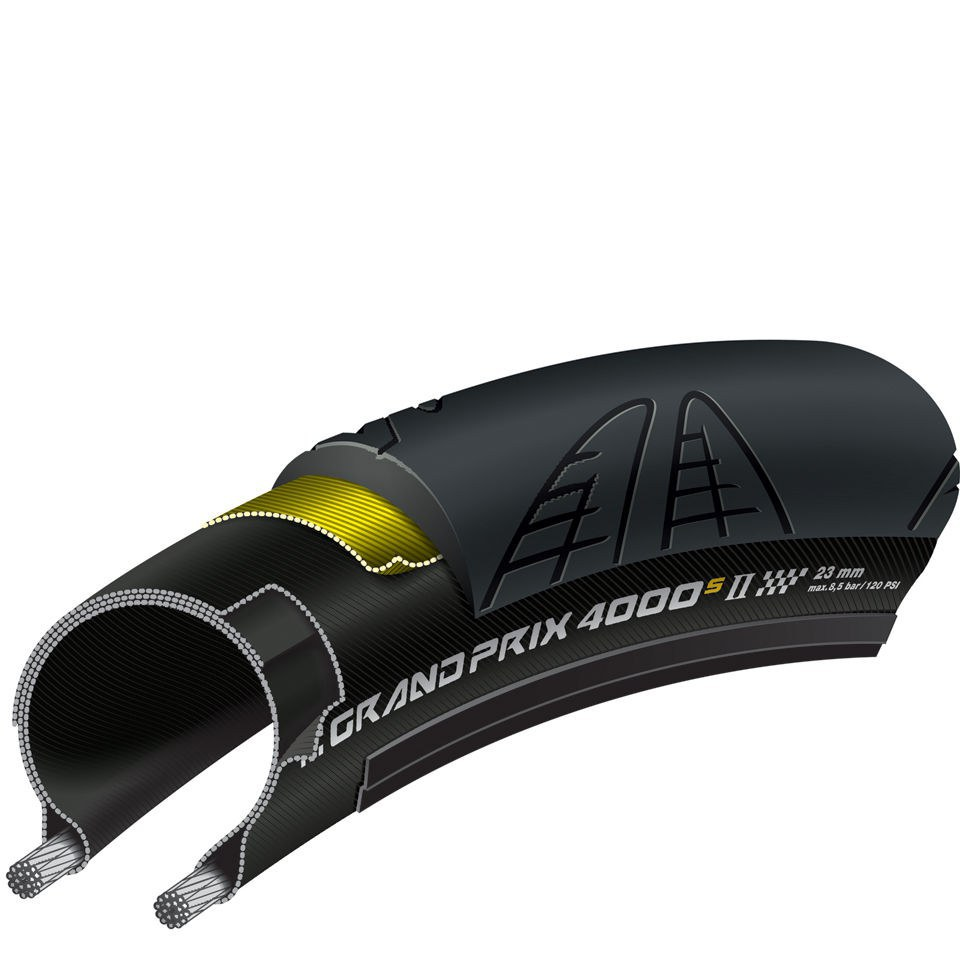 Continental Grand Prix 4000S II Folding Road Tyre - Black - 700c x 23mm