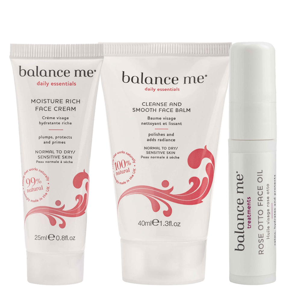 Balance Me Cleanse and Smooth Balm (40ml), Moisture Rich Face Cream (25ml), Rose Otto Face Oil (5ml)