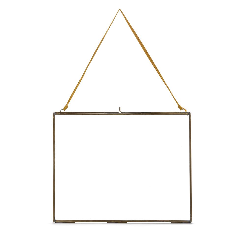 nkuku-extra-large-kiko-antique-brass-glass-frame-landscape-29x36cm