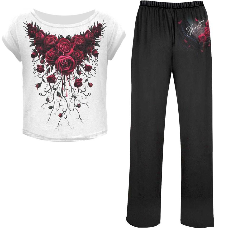 Conjunto de Pijama Spiral Blood Rose - Mujer - Negro - M - Black/White