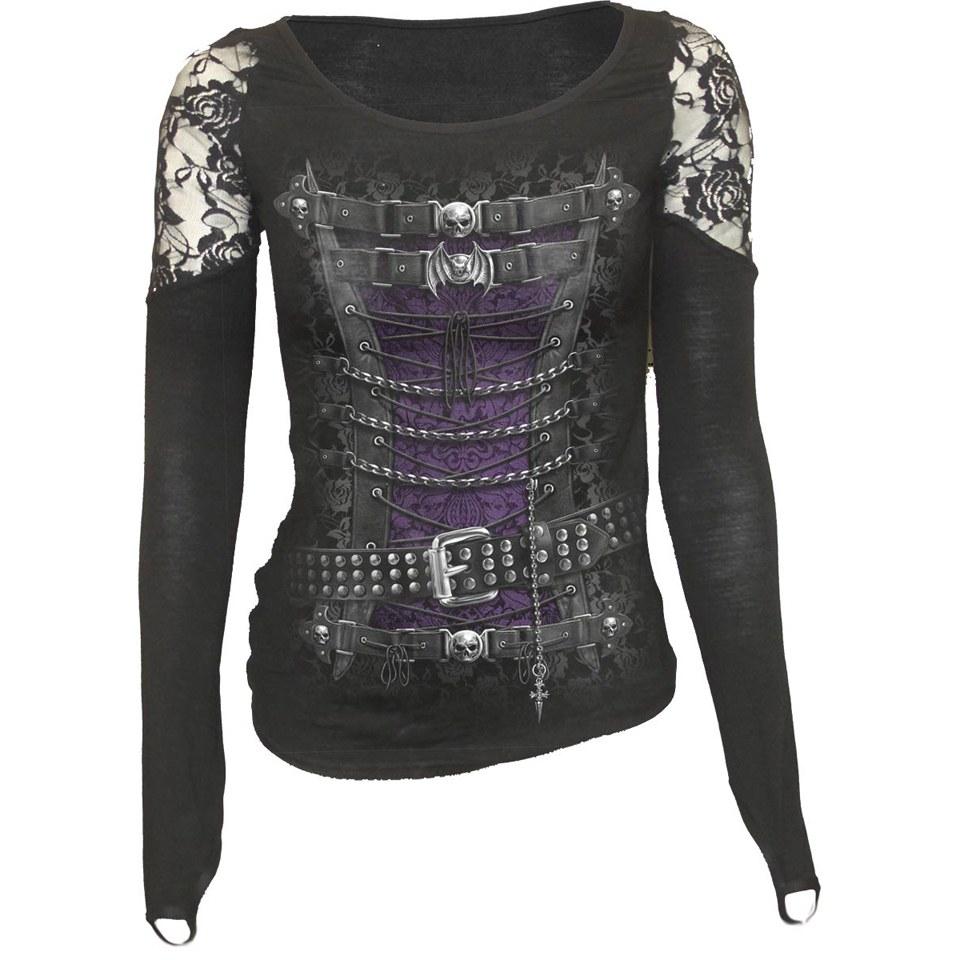 spiral-women-waisted-corset-shoulder-lace-top-black-l