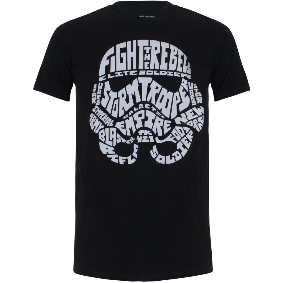 Star Wars Men S Stormtrooper Text Head T Shirt Black