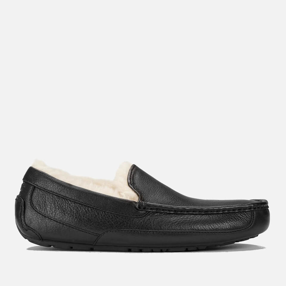 Ugg Mens Ascot Grain Leather Slippers Black Uk 10