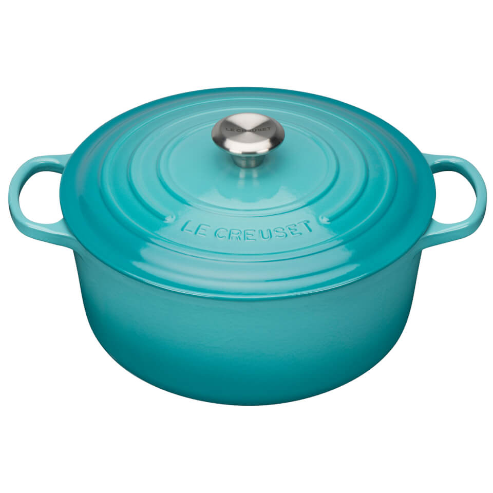 le creuset signature cast iron round casserole dish 24cm teal homeware. Black Bedroom Furniture Sets. Home Design Ideas