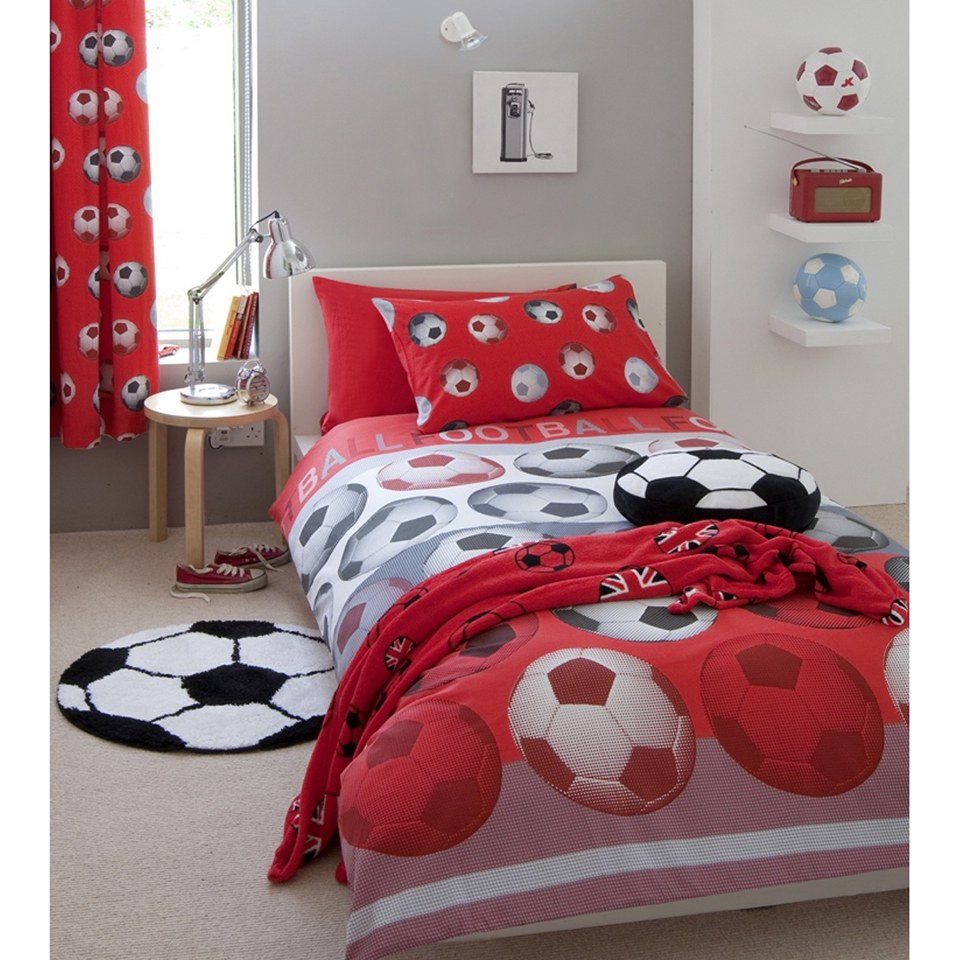 Catherine Lansfield Football Duvet Set - Red - Double - Rojo