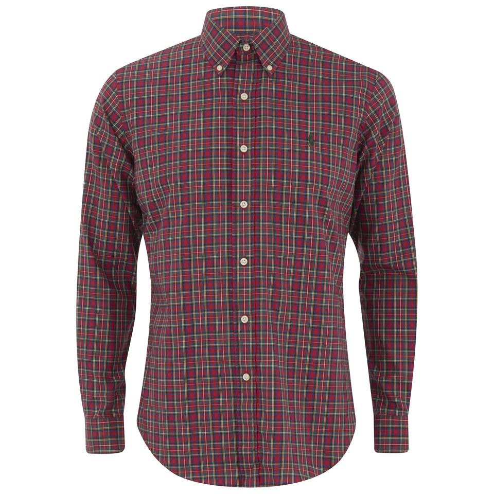 Polo ralph lauren men 39 s long sleeve button down checked for No button polo shirts