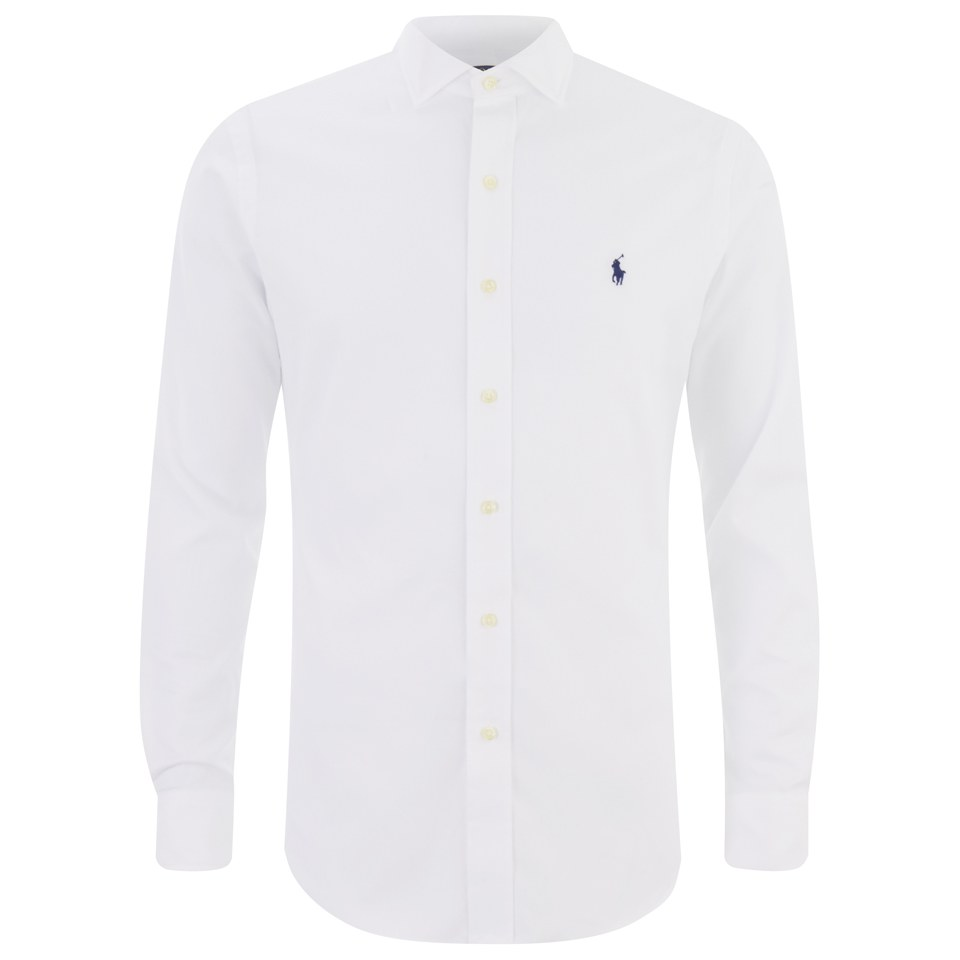 Polo ralph lauren men 39 s cut back collar long sleeve shirt Mens long sleeve white t shirt