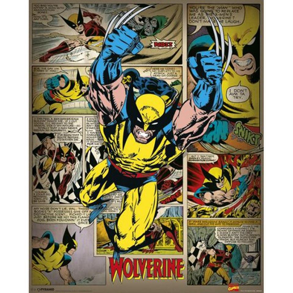 marvel comics wolverine retro 16 x 20 inches mini poster. Black Bedroom Furniture Sets. Home Design Ideas