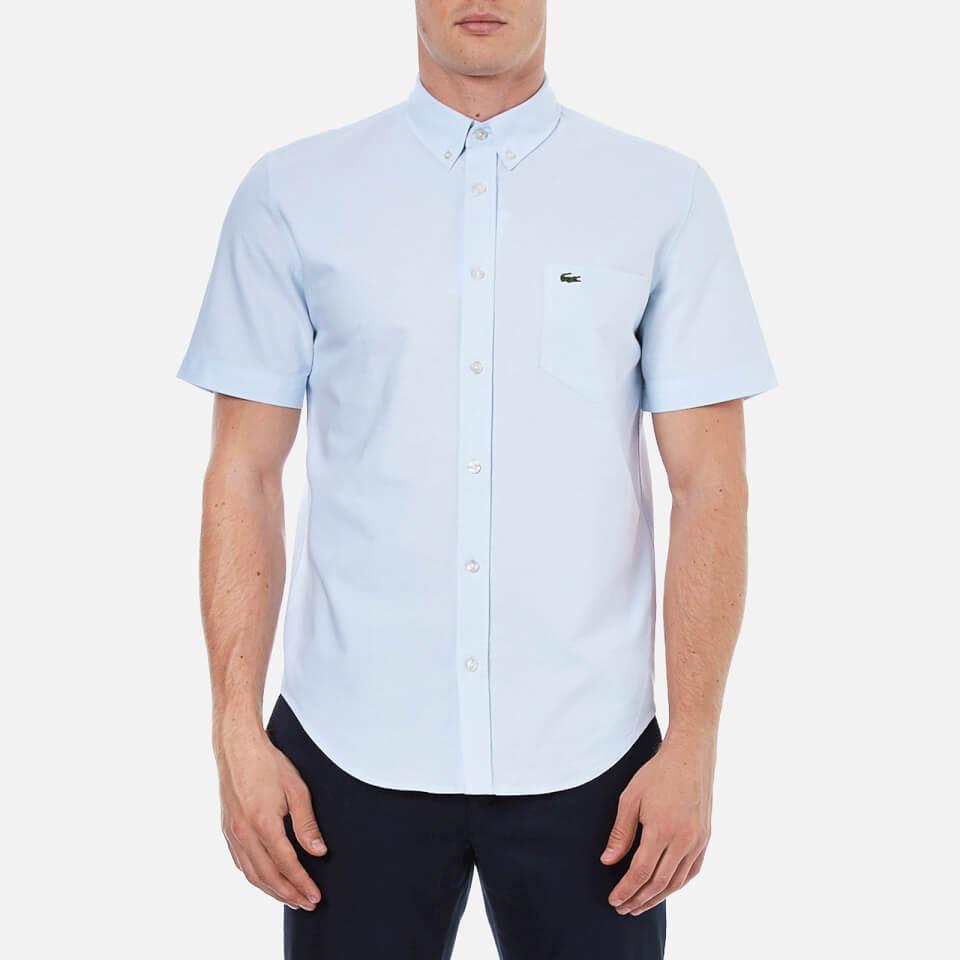 lacoste men 39 s oxford short sleeve shirt atmosphere white. Black Bedroom Furniture Sets. Home Design Ideas
