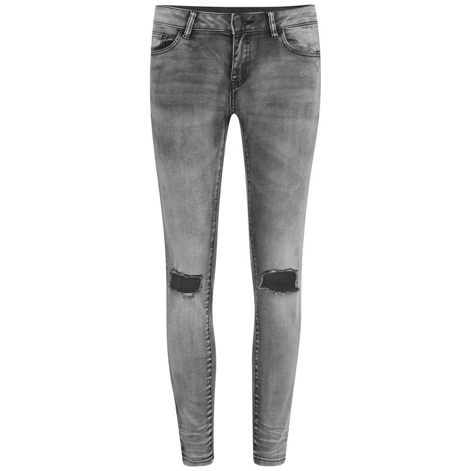 Vila Womens Ripped Knee Crush Skinny Jeans Grey W27-28/l32