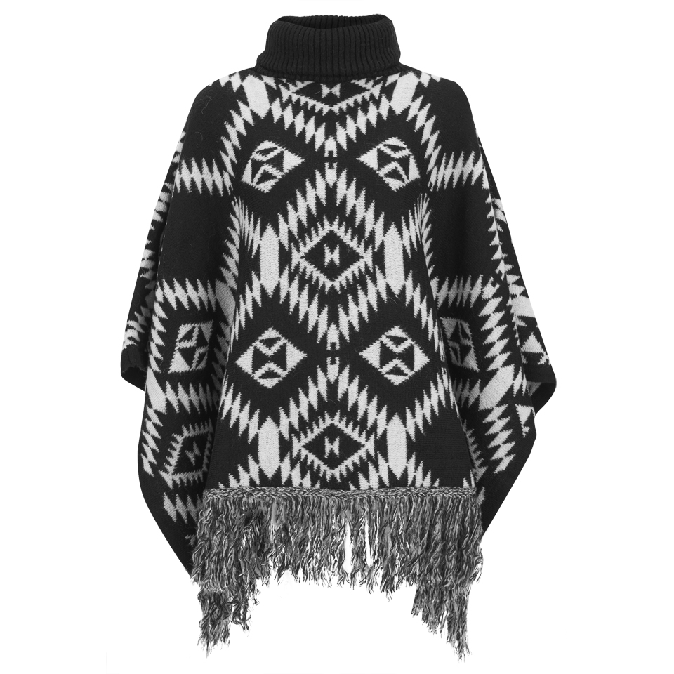 vila-women-erika-knitted-poncho-black-one-size