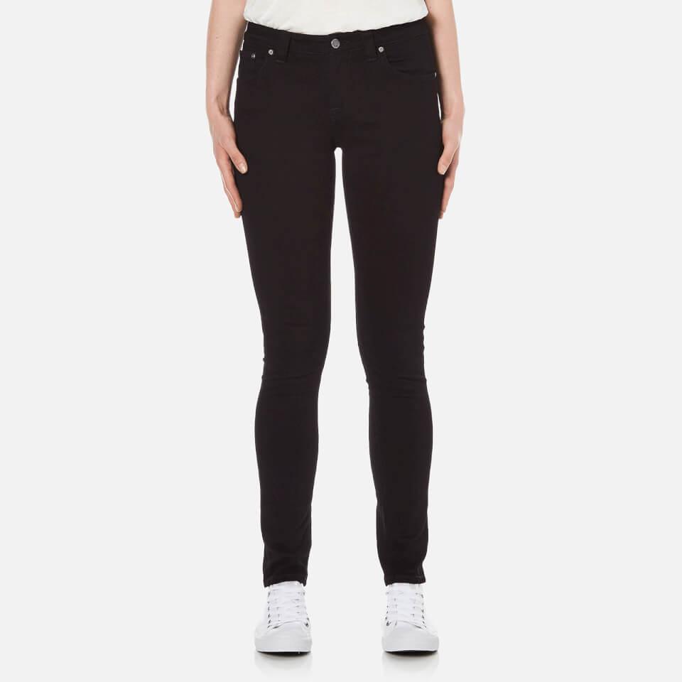 Nudie Jeans Womens Skinny Lin Skinny/curved Waist Jeans Black/black W29/l30