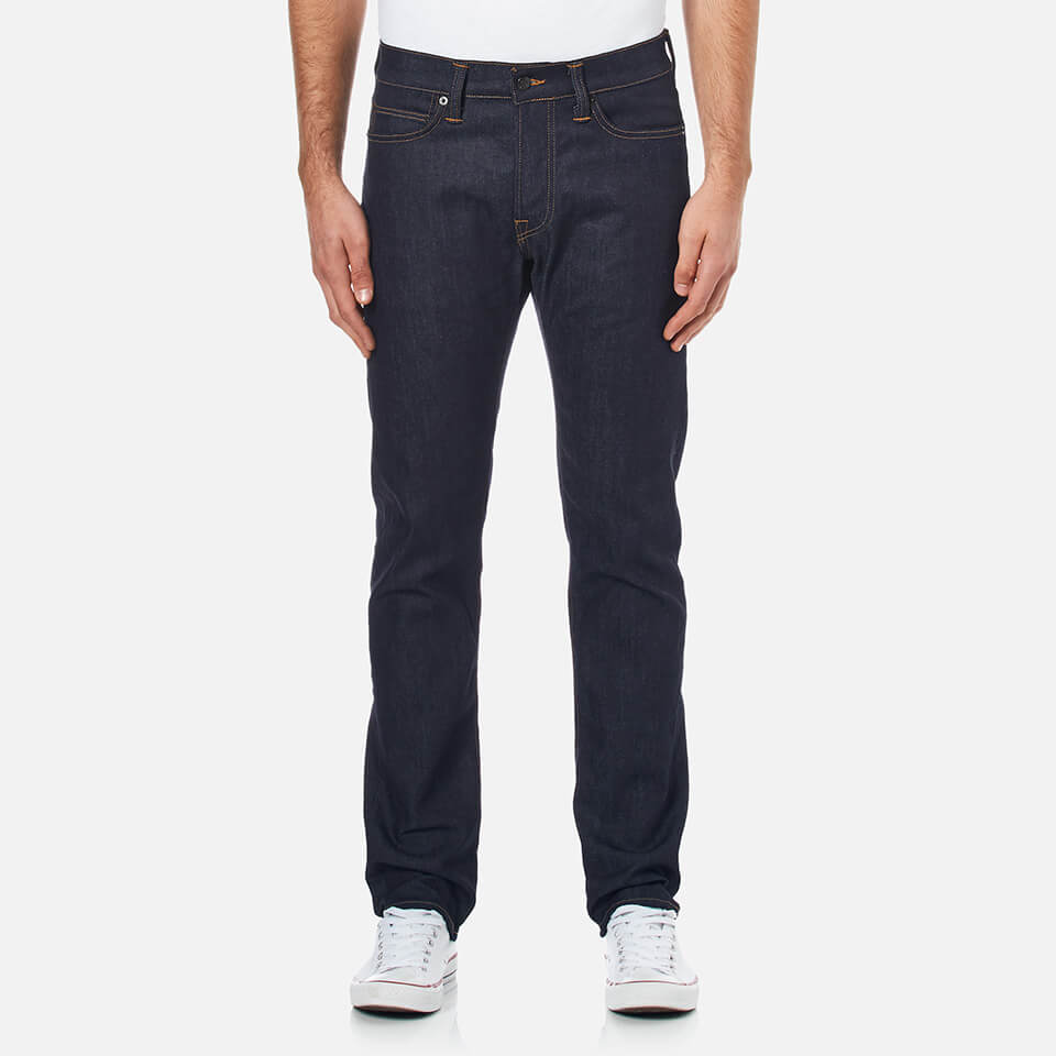 Edwin Mens Ed75 Mid Rise Tapered Unwashed Denim Jeans Dark Blue W32/l34