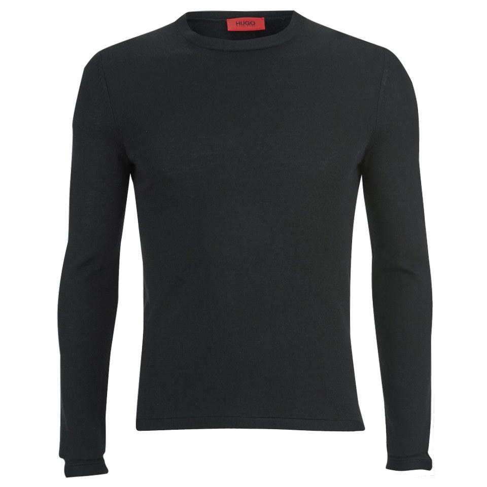 hugo-men-splatted-crew-neck-cashmere-blend-knitted-jumper-black-xxl