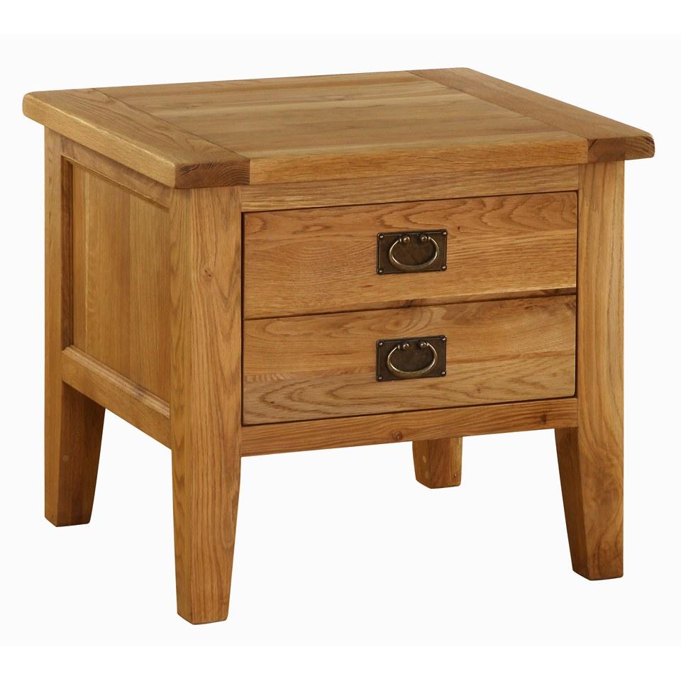 Vancouver oak vxa004 two drawer lamp table iwoot for Z oak lamp table