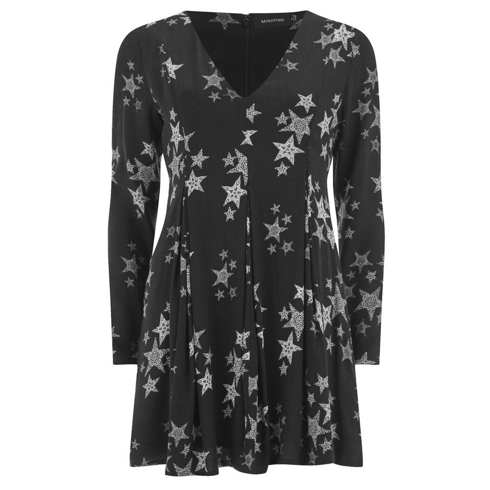minkpink-women-star-struck-deep-v-neck-inverted-pleat-detail-dress-black-silver-8