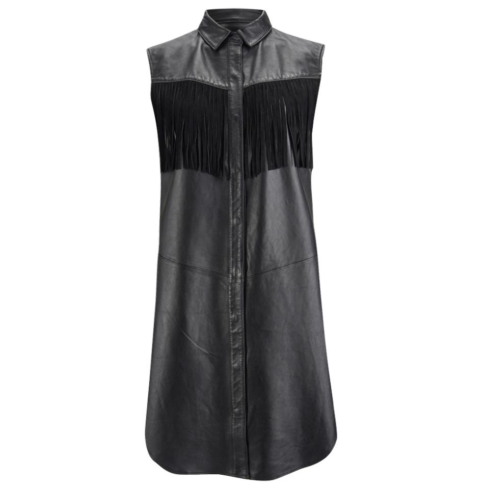 ganni-women-leather-fringed-shirt-dress-black-s-8