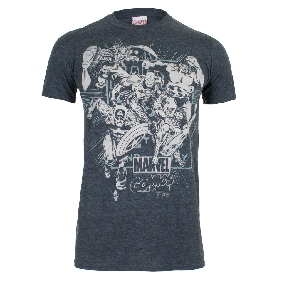 Marvel men 39 s band of heroes t shirt dark heather for Band t shirts for men