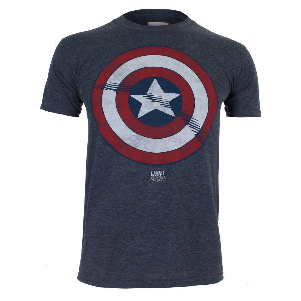 Marvel Captain America Schild Herren T Shirt Dunkelblau S Blau