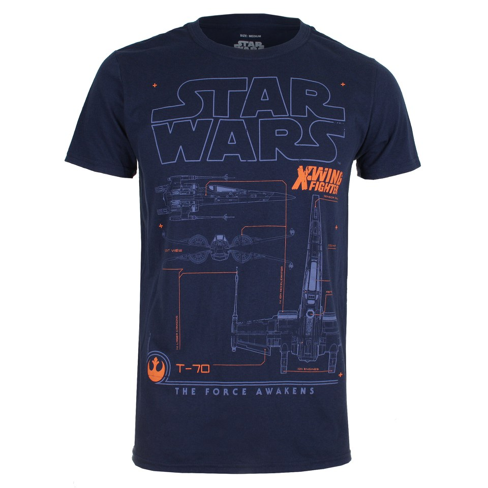 star wars men 39 s x wing schematic t shirt navy pop in a. Black Bedroom Furniture Sets. Home Design Ideas