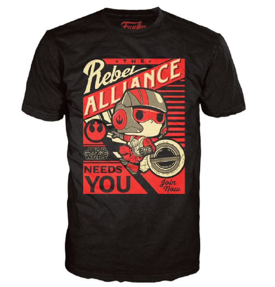 Star Wars The Force Awakens Poe Propaganda Pop! T Shirt Black L Schwarz