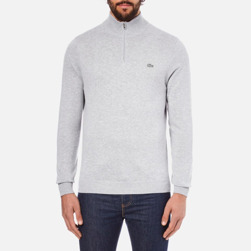 Lacoste Mens Quarter Zip Sweatshirt Silver Chine Xxl