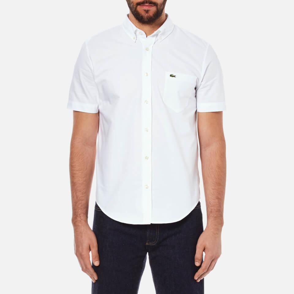 Lacoste men 39 s short sleeve casual shirt white free uk for Short sleeve casual shirt