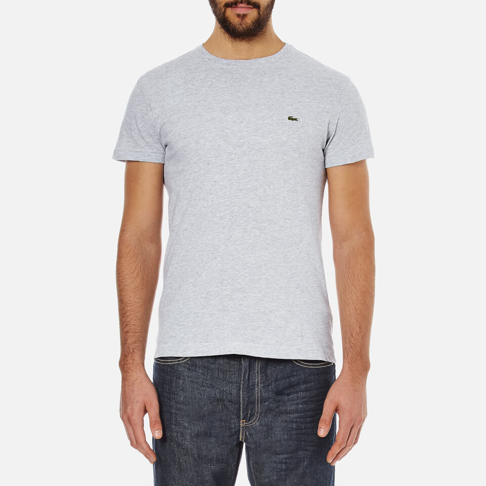 Lacoste men 39 s short sleeve crew neck t shirt silver for Silver jeans t shirts