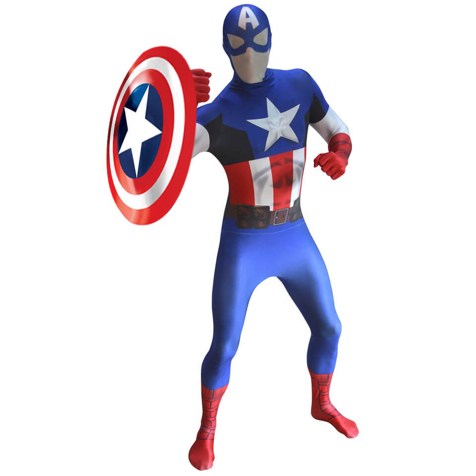 Morphsuit Adults' Deluxe Zapper Marvel Captain America XL Blau