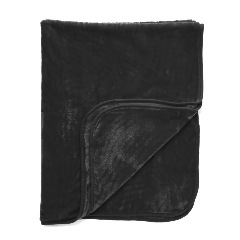 Dreamscene Luxurious Faux Fur Throw - Black - 200x240cm - Negro