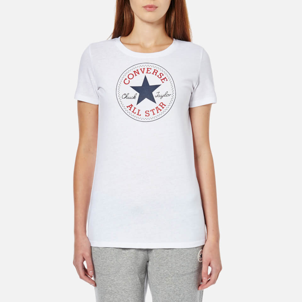 Converse women 39 s chuck patch crew t shirt converse white for Women s crew t shirts