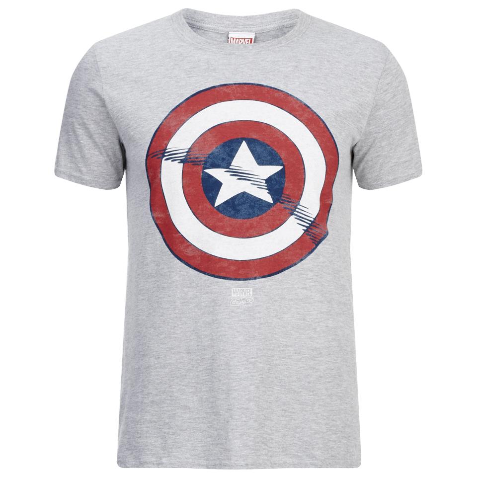 Marvel Men's Captain America Shield T Shirt Grey Marl XL