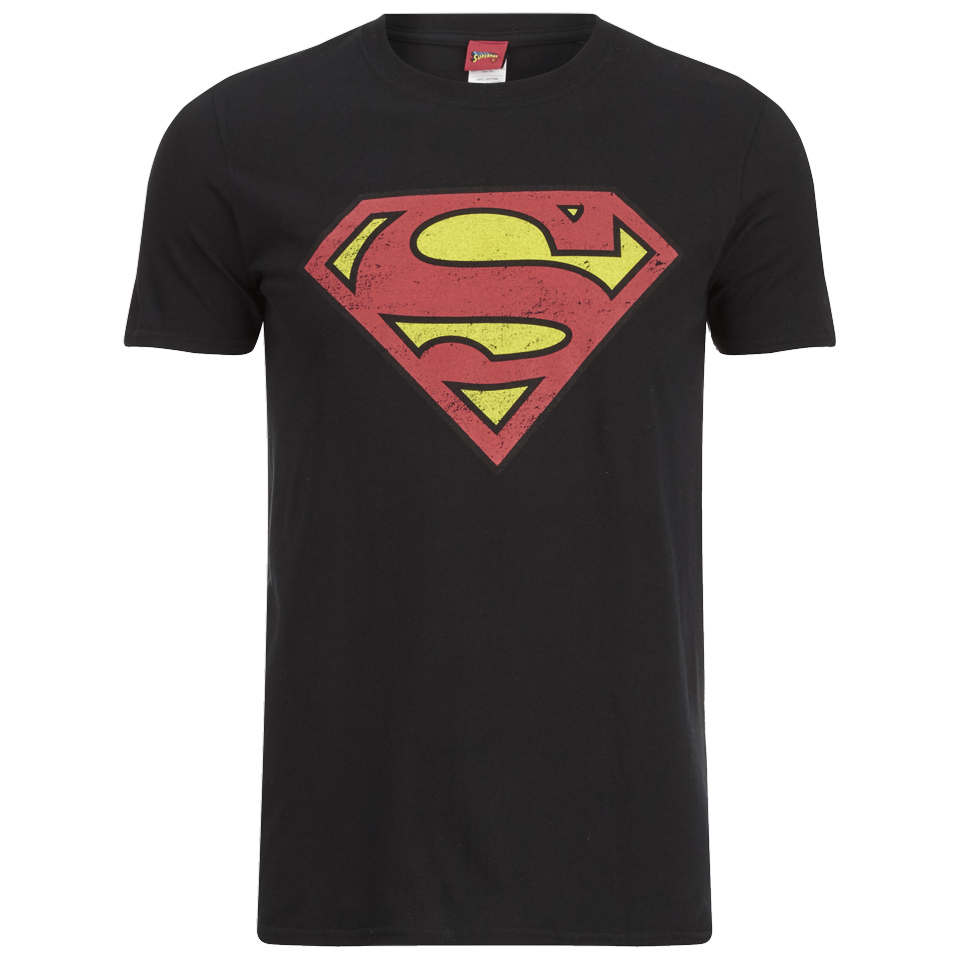 DC Comics Superman Distress Logo Herren T Shirt Schwarz XXL Schwarz