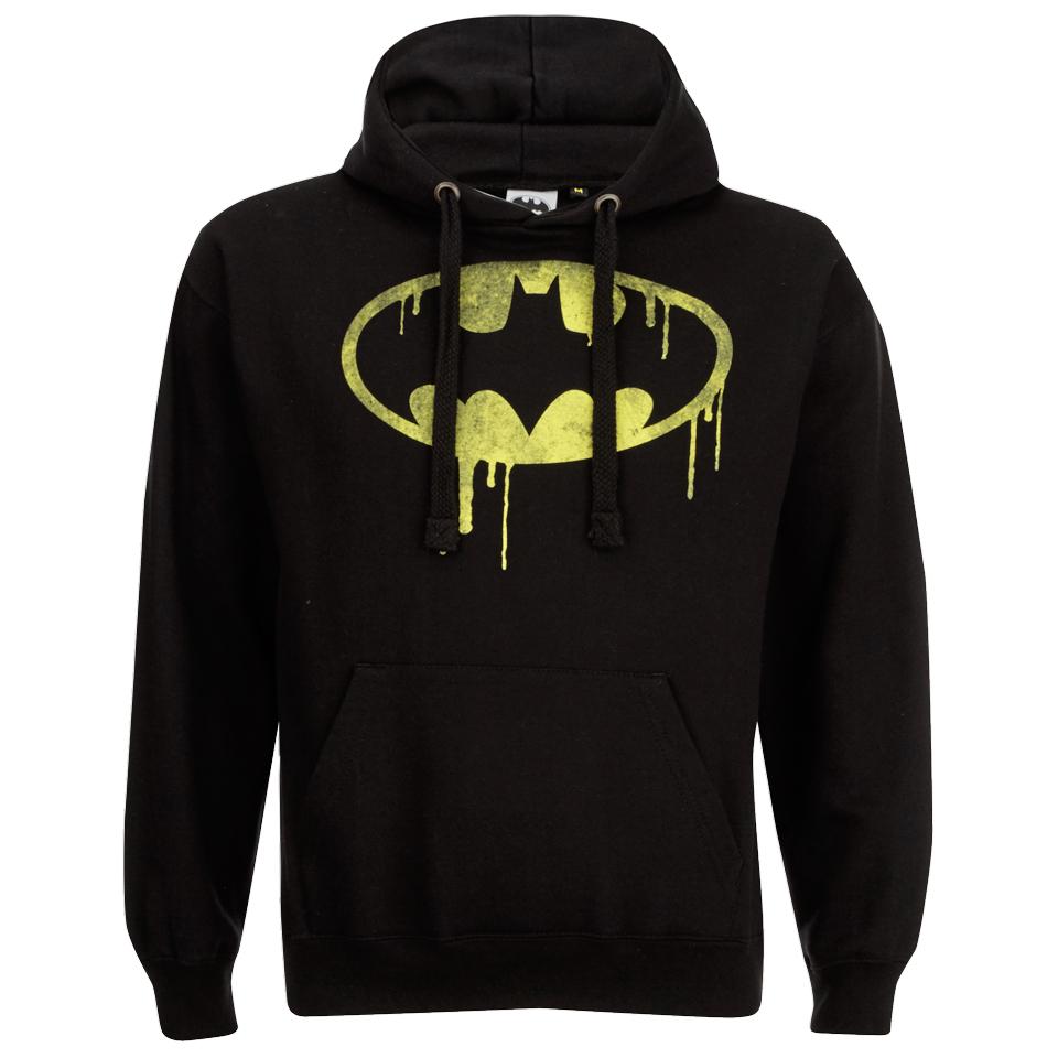 DC Comics Men's Batman Dripping Logo Hoody Black L Schwarz