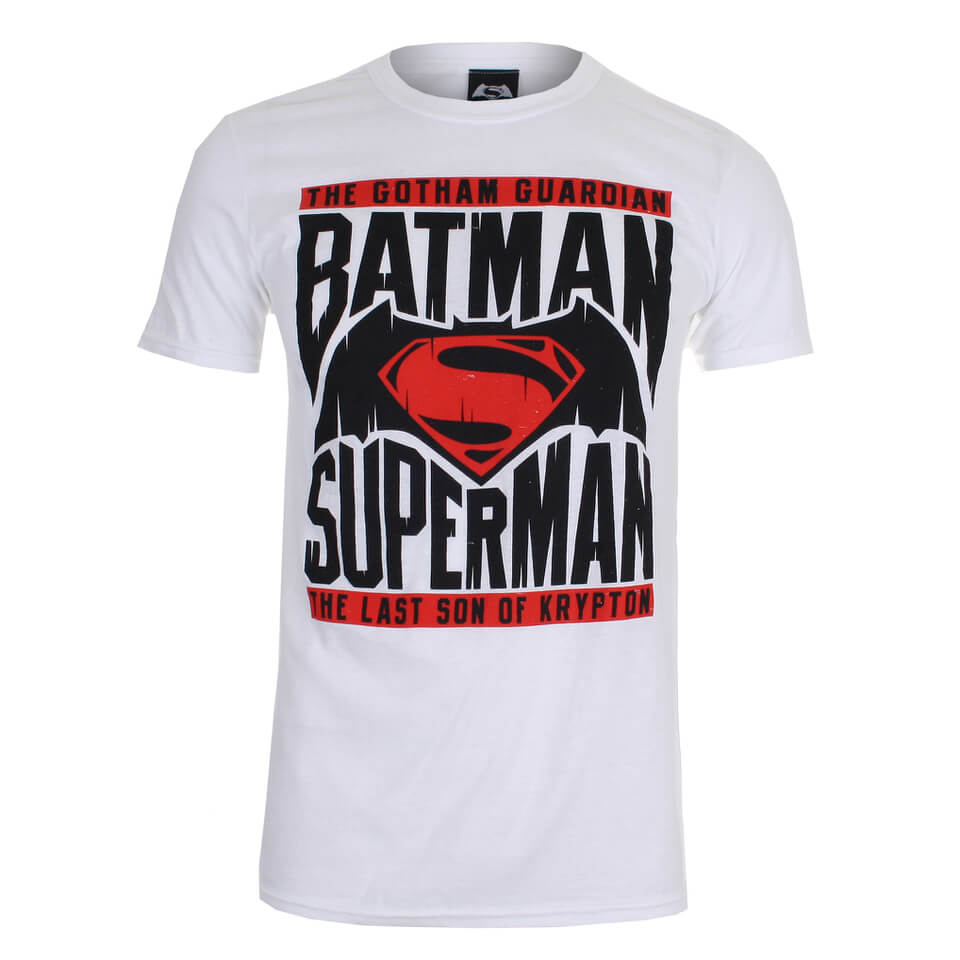 DC Comics Batman v Superman Gotham Guardian Herren T Shirt Weiss L Weiß